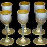 LCT Tiffany Favrile pastel tone cordial goblet butterscotch heat reactive art glass