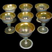 LCT Tiffany Favrile pastel tone goblet butterscotch heat reactive art glass
