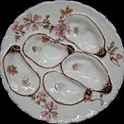 Haviland Limoges pink floral oyster plate