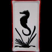 Spiritwolf Glass Studio sea horse art glass tray