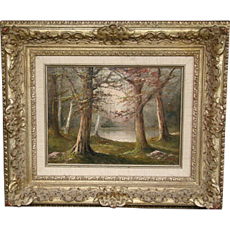 Antique signed Fisher 1910 landscape wood oil painting