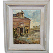 Oil painting of building with dedication on back