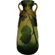 Legras French cameo glass handled vase art glass