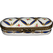 Limoges hand painted trinket box flowers Dumont