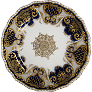 Royal Doulton cobalt blue and raised gold design plate Collamore & Co New York