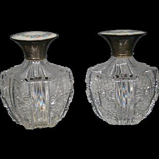Cut glass pair perfume bottles guilloche enamel sterling silver tops