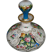 Antique thickly enameled floral roses glass perfume bottle