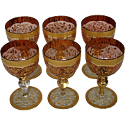 Moser antique cranberry art glass gold gilt enameled set of wine goblets