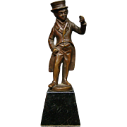 Antique bronze sculpture Charles Dickens type man in coat and top hat