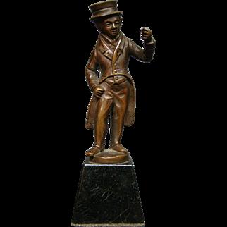 Antique bronze sculpture Charles Dickens type man in coat and top hat