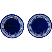Val St Lambert cobalt blue cut to clear plates