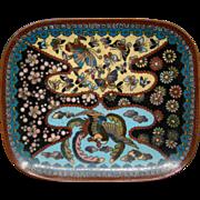 Japanese cloisonne phoenix bird butterflies flowers tray
