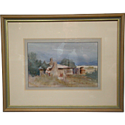 Joan Prince original watercolor countryside home Limekilns Australian artist