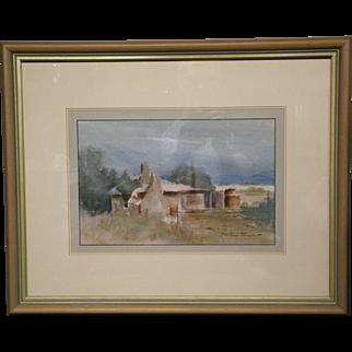 Joan Prince original watercolor countryside home Limekilns Australian artist