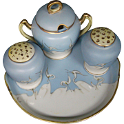 Japanese porcelain stork crane condiment set salt pepper marmalade jar