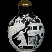 Peking cameo glass snuff bottle ornate scene pagodas figures