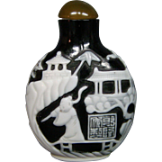 Peking cameo glass snuff bottle ornate scene pagodas figures
