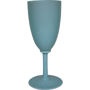 Portieux Vallerysthal blue opaline tall chalice goblet