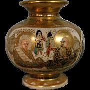Antique Satsuma pottery miniature vase signed