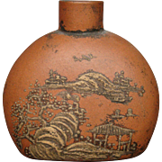 Terra cotta pottery oriental signed snuff bottle landscape
