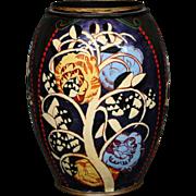 Farlandie Limoges enamel large art deco stylized floral vase