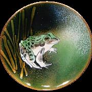 Norman Brumm artist signed enameled frog plate