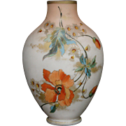 Antique floral enameled art glass vase late 1800's