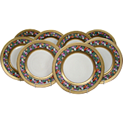 Heinrich Bavaria Edgerton Pickard set eight gilded and floral dinner plates service chargers