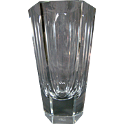 Moser Bohemian crystal faceted tall vase signed