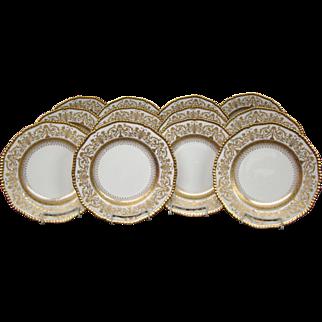 Coalport porcelain raised gold gilded set of 12 dinner plates Z1139 Apsley London
