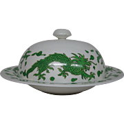 Hammersley bone china green dragon 4602 round covered butter dish Tiffany & Co New York