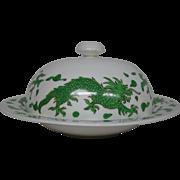 Hammersley bone china green dragon 4602 round covered butter dish Tiffany & Co New York