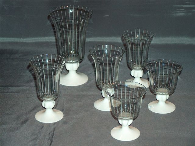 Johans Fors Swedish art glass set of six goblets