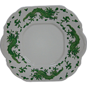 Hammersley bone china green dragon 4602 handled cake plate T Goode London