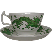 Hammersley bone china green dragon breakfast cup and saucer T Goode London