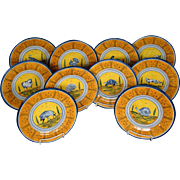 Rampini Radda Italian majolica pottery set animal plates