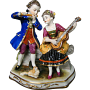 Dresden Germany figurine man woman courting scene pekingese dog Muller & Co