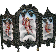 Austrian enamel three section screen cupids sterling silver