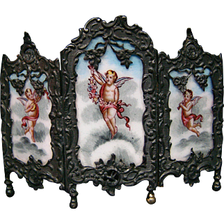 Austrian enamel three section screen cupids sterling silver