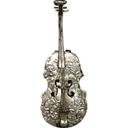 Antique silver cello musical instrument box flowers and lovebirds