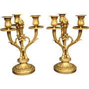 Antique French gilded bronze pair hoof candelabras three light candlesticks Unis France
