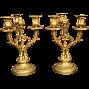Antique French gilded bronze pair hoof candelabras three light candlesticks Unis France
