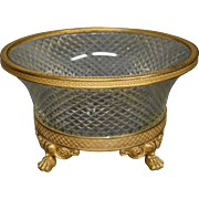 Antique French bronze and crystal paw foot centerbowl bowl