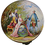 Antique French enamel silver pill box courting scenes hallmarked