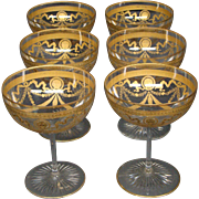 St Louis French crystal Congress large goblets gold trimmed lion head