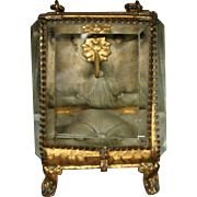 Antique French ormolu pocket watch casket beveled glass original lining