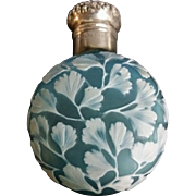 Webb English cameo glass lay down perfume bottle flask sterling silver cap