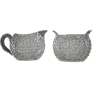 Mount Washington cut glass unique form creamer and sugar bowl