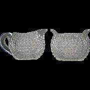 Mount Washington cut glass unique form creamer and sugar bowl