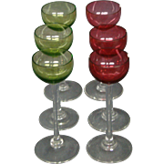 Cranberry and green set of six matching cordial goblets glasses